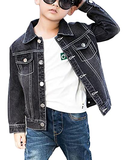 Amazon Com Mytodo Boys Black Denim Jacket Kids Autumn Long Sleeved