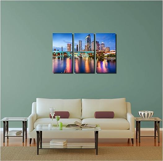 Pingo World 0817QILMTYA Tampa Downtown Skyline Panoramic Gallery Wrapped Canvas Wall Art Triptych 48″x30″