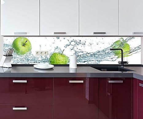 wandmotiv24 Küchenrückwand grüner Apfel Nischenrückwand Spritzschutz Design  M0736 260 x 50cm (B x H) - Acrylglas 4mm Rückwand Küche ...