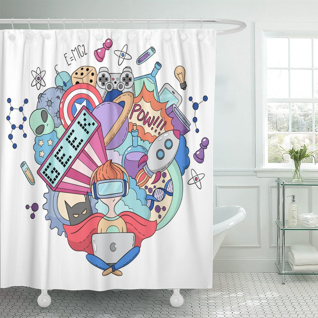 Amazon Emvency Shower Curtain Food Cartoon Doodle Pattern Geek Nerd Gamer Alien America Waterproof Polyester Fabric 72 X Inches Set With Hooks Home
