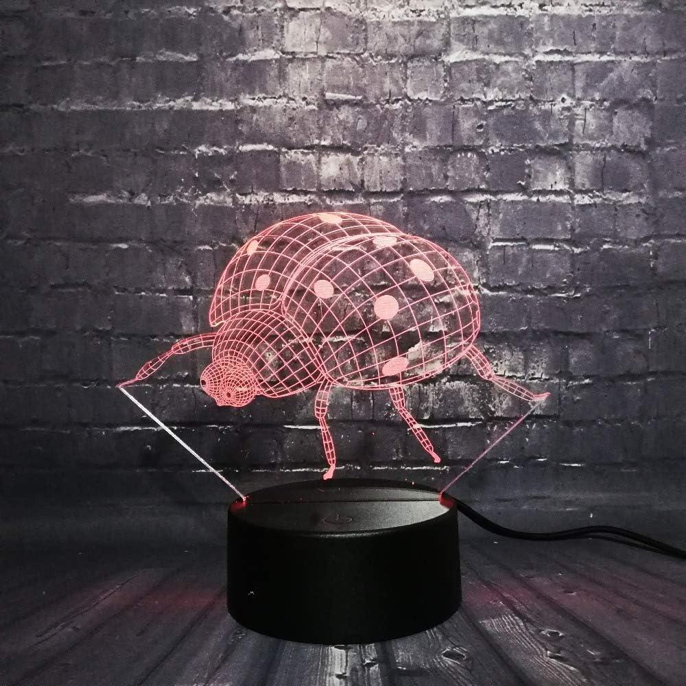 KangYD Ladybug 3D Night Light, LED Rgb Decor Lamp, Bedroom Sleep ...