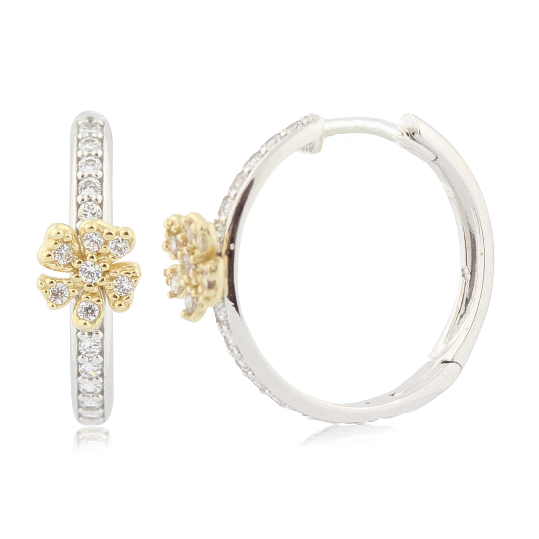 UNICORNJ Childrens Tweens 14k White and Yellow Gold CZ Flower Hoop Huggie Earrings 15mm Diameter Italy