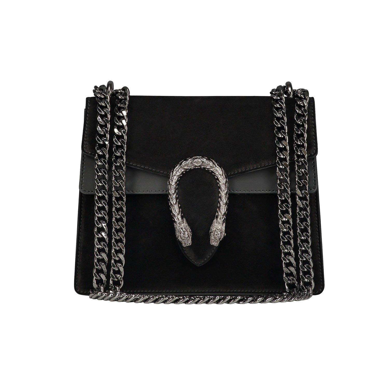 Italian cross body chain bag, designer evening purse, shoulder bag, handbag, flap bag, suede genuine leather (Small, Black)