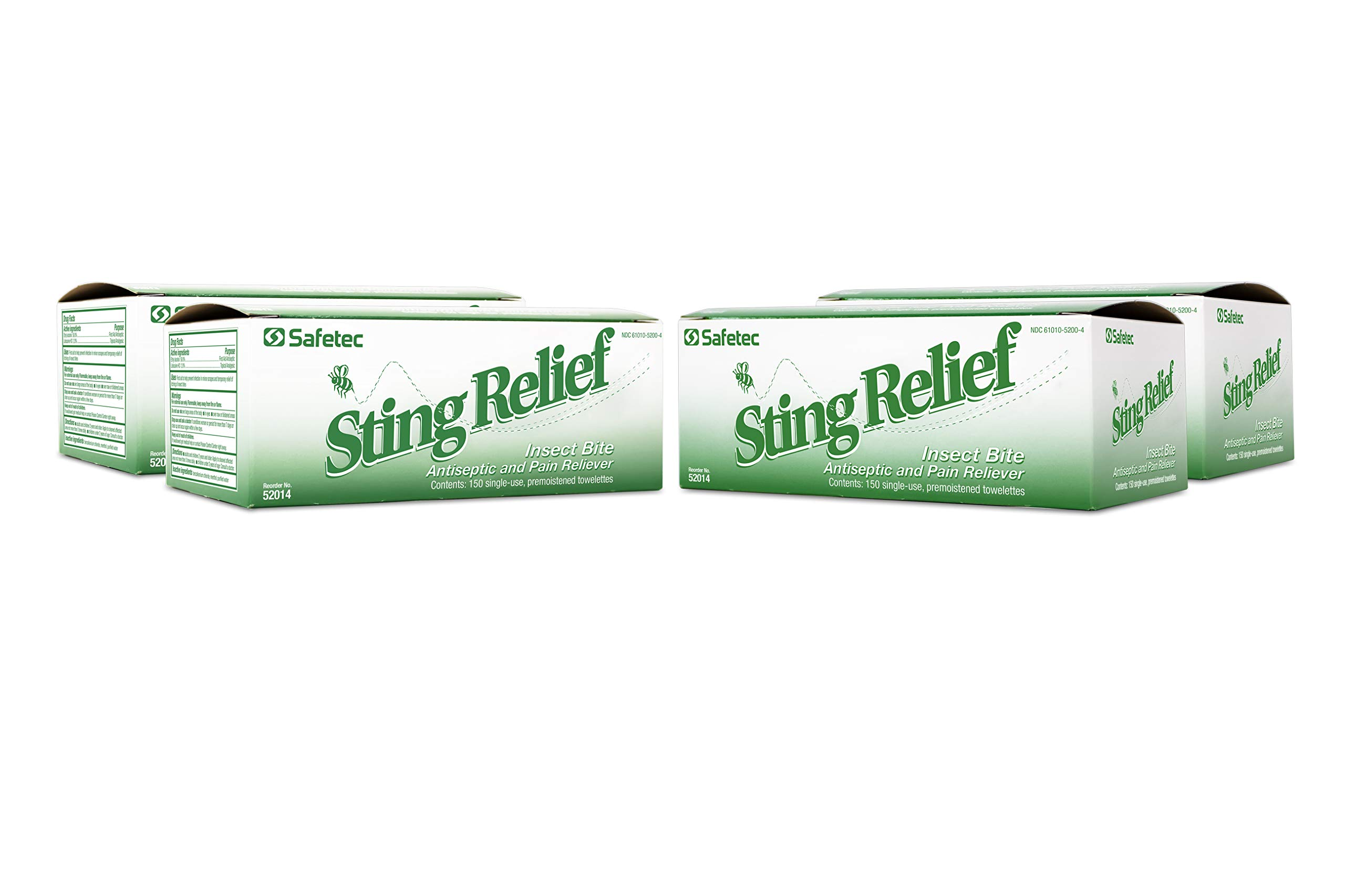 Safetec Sting Relief Wipes 150ct Box (4 Pack of 150ct Wipes - 600 Sting Wipes) for Insect Bites & Stings by Safetec