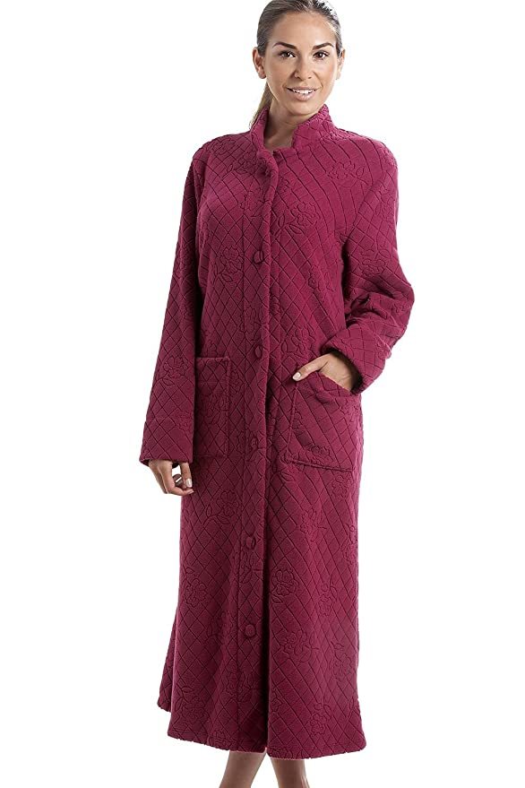 Camille Red Soft Fleece Floral Full Length Button Up Housecoat at Amazon Womens Clothing store: