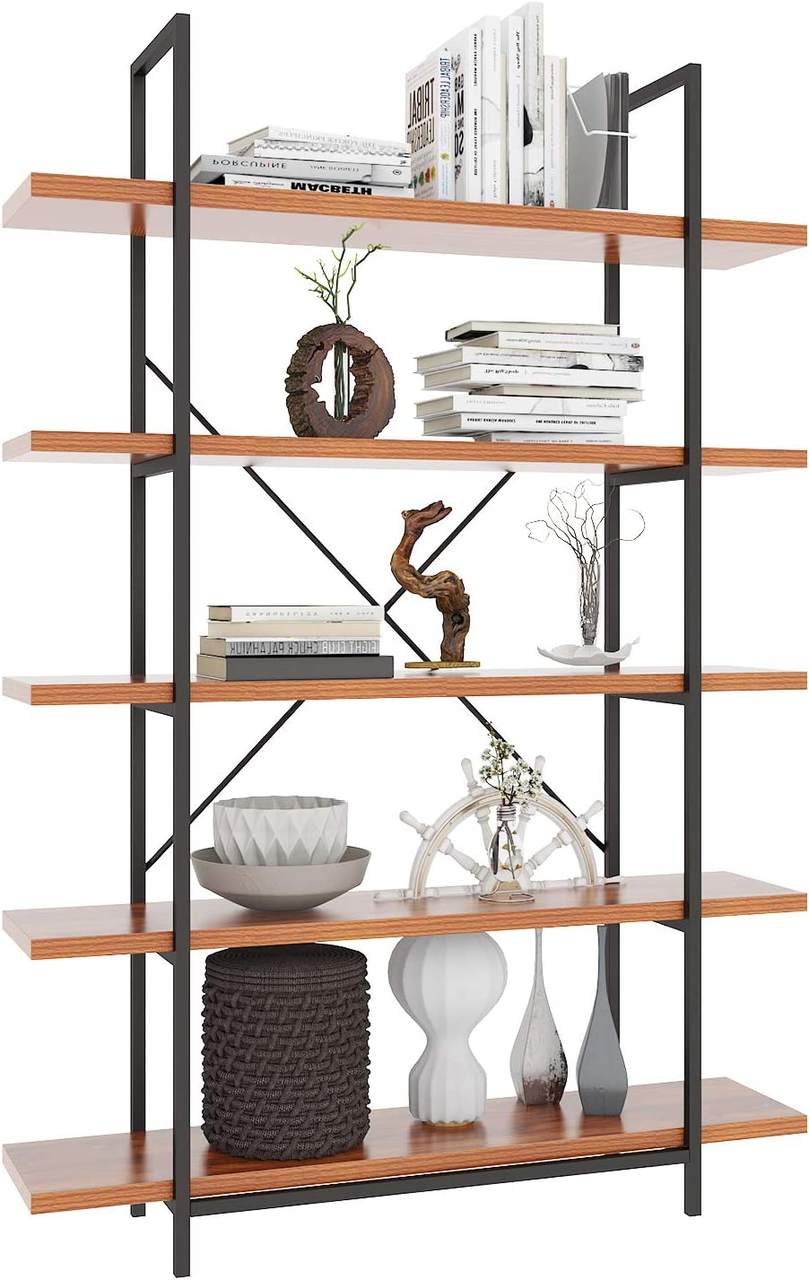 Himimi 5 Tier Bookshelf Open Vintage Industrial Style Bookshelves And Bookcase Etagere Bookcase With Metal Frame For Home And Office Organizer Kitchen Dining Amazon Com