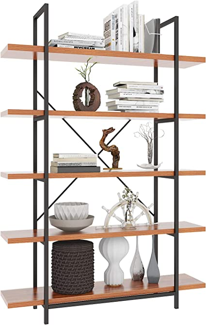 Himimi Estantería esquinera de diseño industrial con 5 compartimentos, para oficina, salón, dormitorio, 120 x 30 x 180 cm