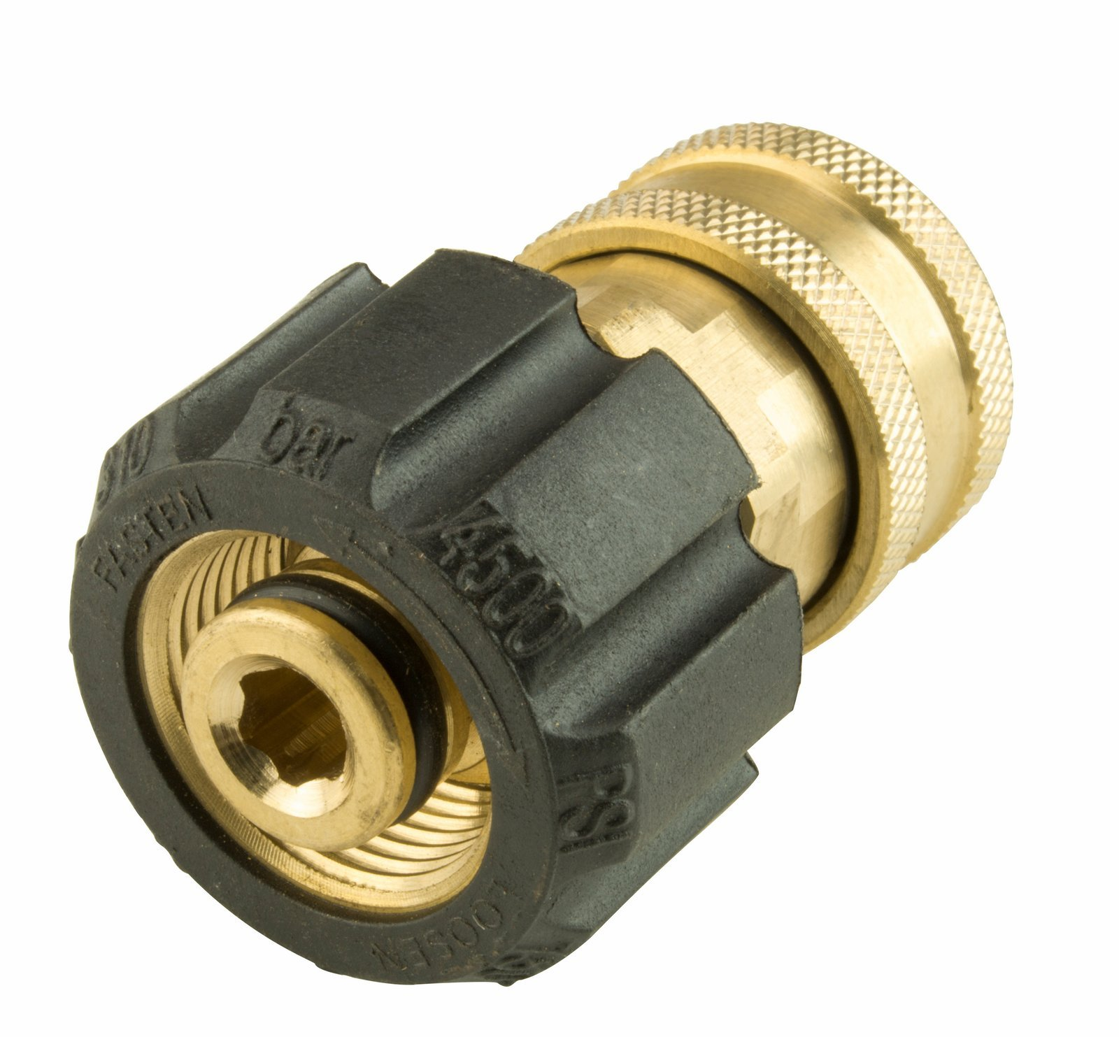 Erie Tools Pressure Washer Twist Connect M22 X 3/8'' Quick Disconnect 4500PSI High Pressure Brass Fitting with 300°F Max Temp