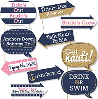 product image for Big Dot of Happiness Funny Last Sail Before the Veil - Nautical Bridal Shower and Bachelorette Party Photo Booth Props Kit - 10 Piece