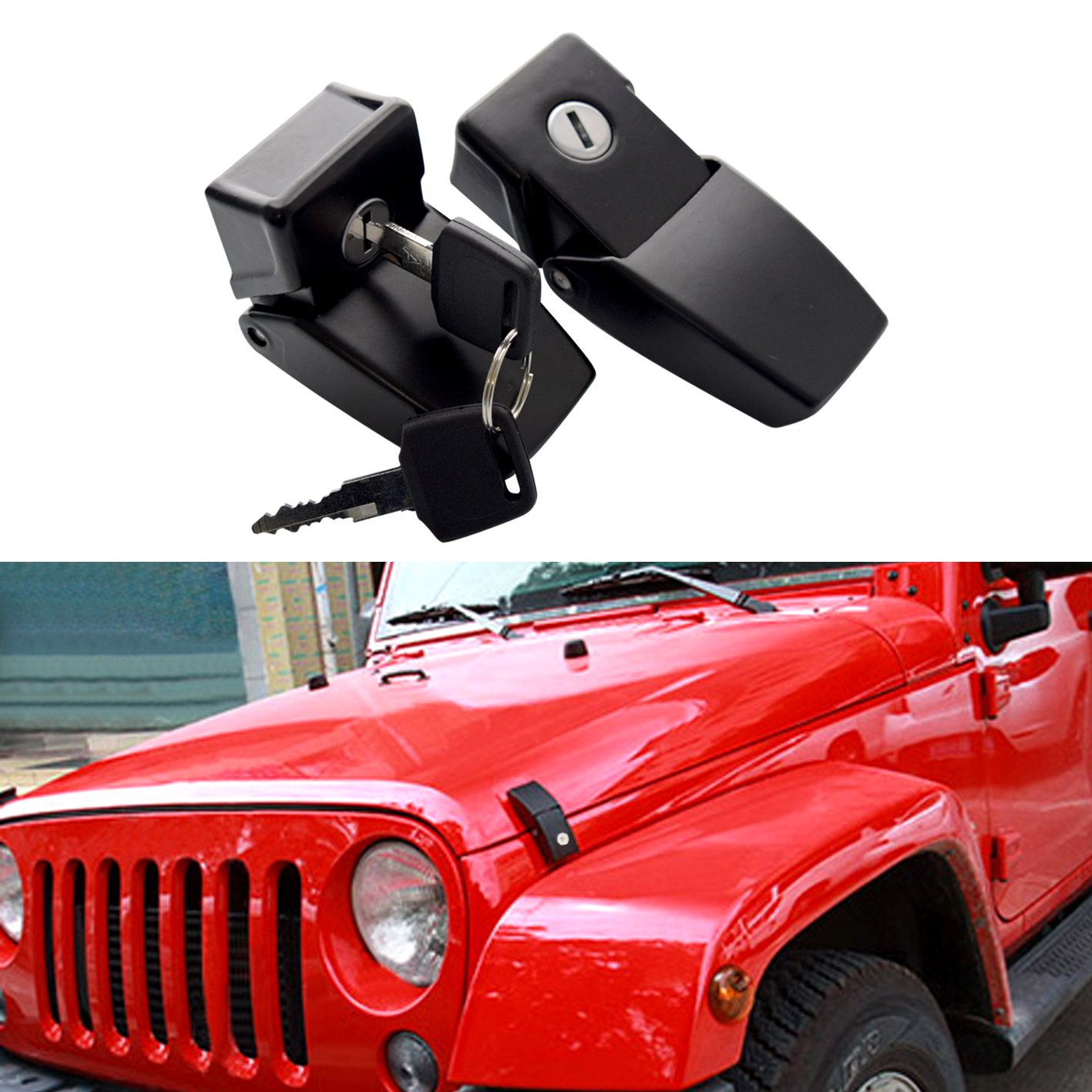 DIYTuning Front Anti-Thief Security a Pair Locking Hood Look Catch Latches Kit for Jeep Wrangler JK JKU Unlimited Rubicon Sahara X Off Road Sport Exterior Accessories Parts 2007-2017