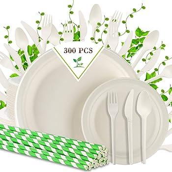 300-Pieces Compostable Disposable Dinnerware Set