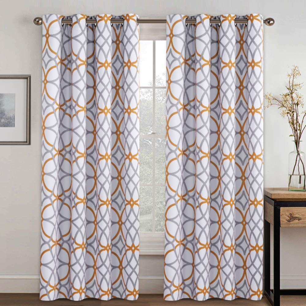 H.VERSAILTEX Geometry Line Darkening Mustard and Grey Window Curtain Panel Set for Living, Dining Room, Bedroom, Home Fashion Thermal Window Curtains for Hall Room (1 Pair, 52 by 84-Inch)