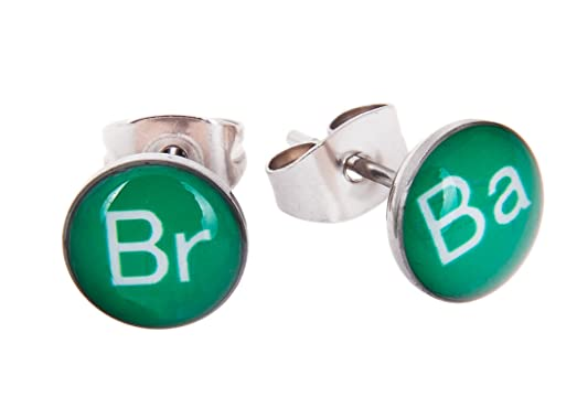 Amazon tv show inspired br ba periodic table symbols 8mm tv show inspired br ba periodic table symbols 8mm stainless steel stud earrings urtaz Image collections