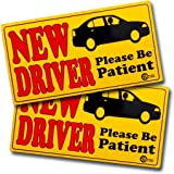 VaygWay Set of 2 Please Be Patient Student Driver Bumper Magnet Safety Sign - Car Vehicle Reflective Sign Sticker Bumper for New Driver