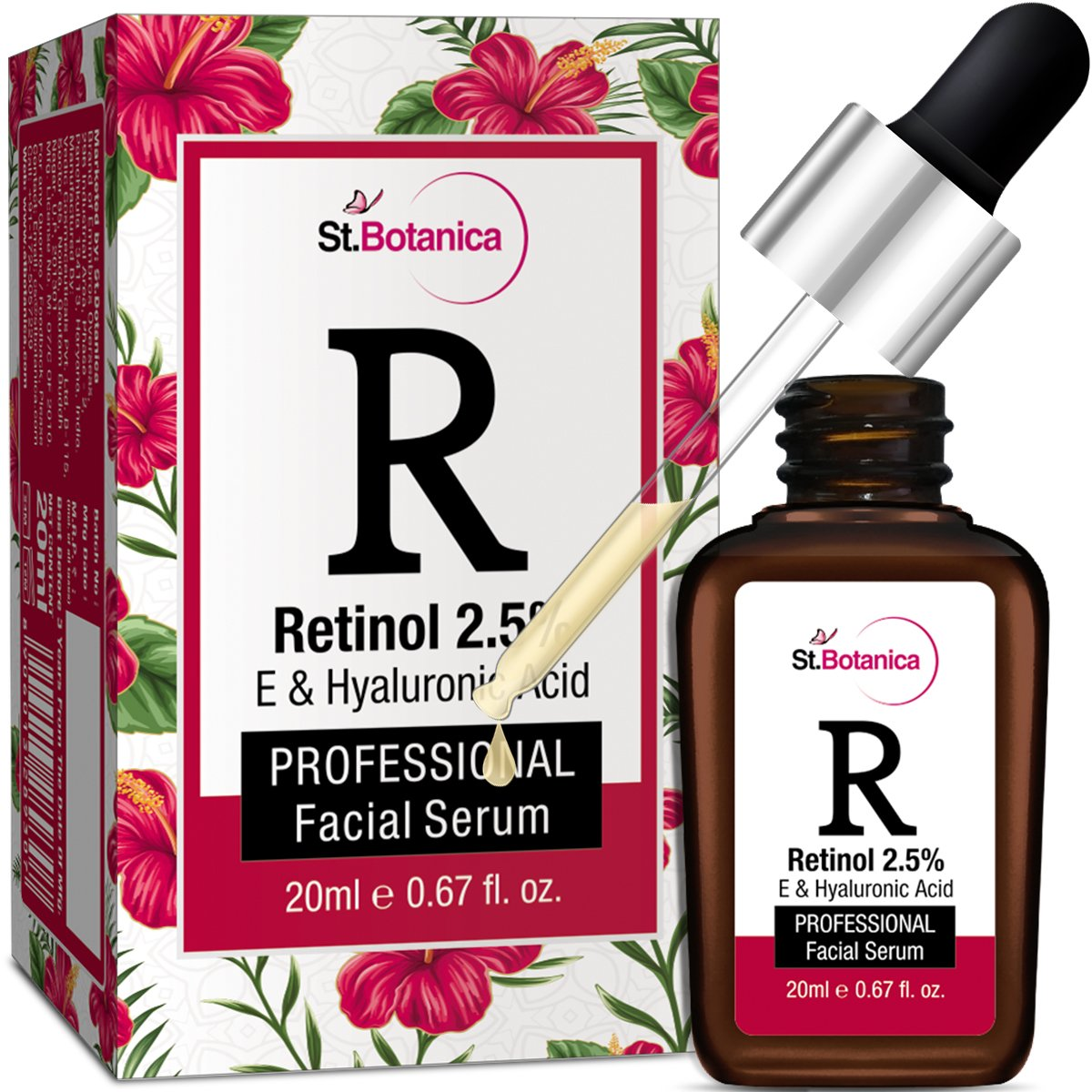 StBotanica Retinol 2.5% + Vitamin E, C & Hyaluronic Acid Professional Facial Serum - 20ml - Anti Aging/Wrinkle Serum, Skin Whitening Serum product image