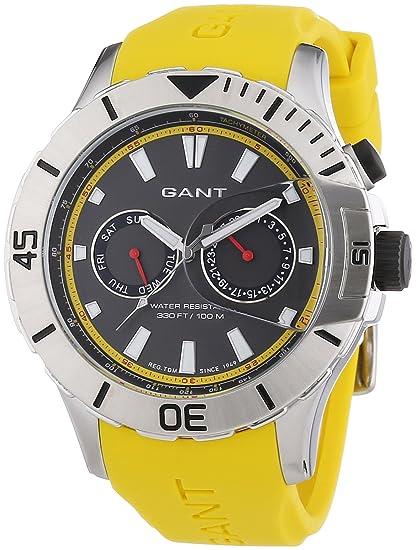 GANT BOSTON Multi - Reloj Analógico de Cuarzo para Hombre, correa de Silicona color Amarillo: Amazon.es: Relojes