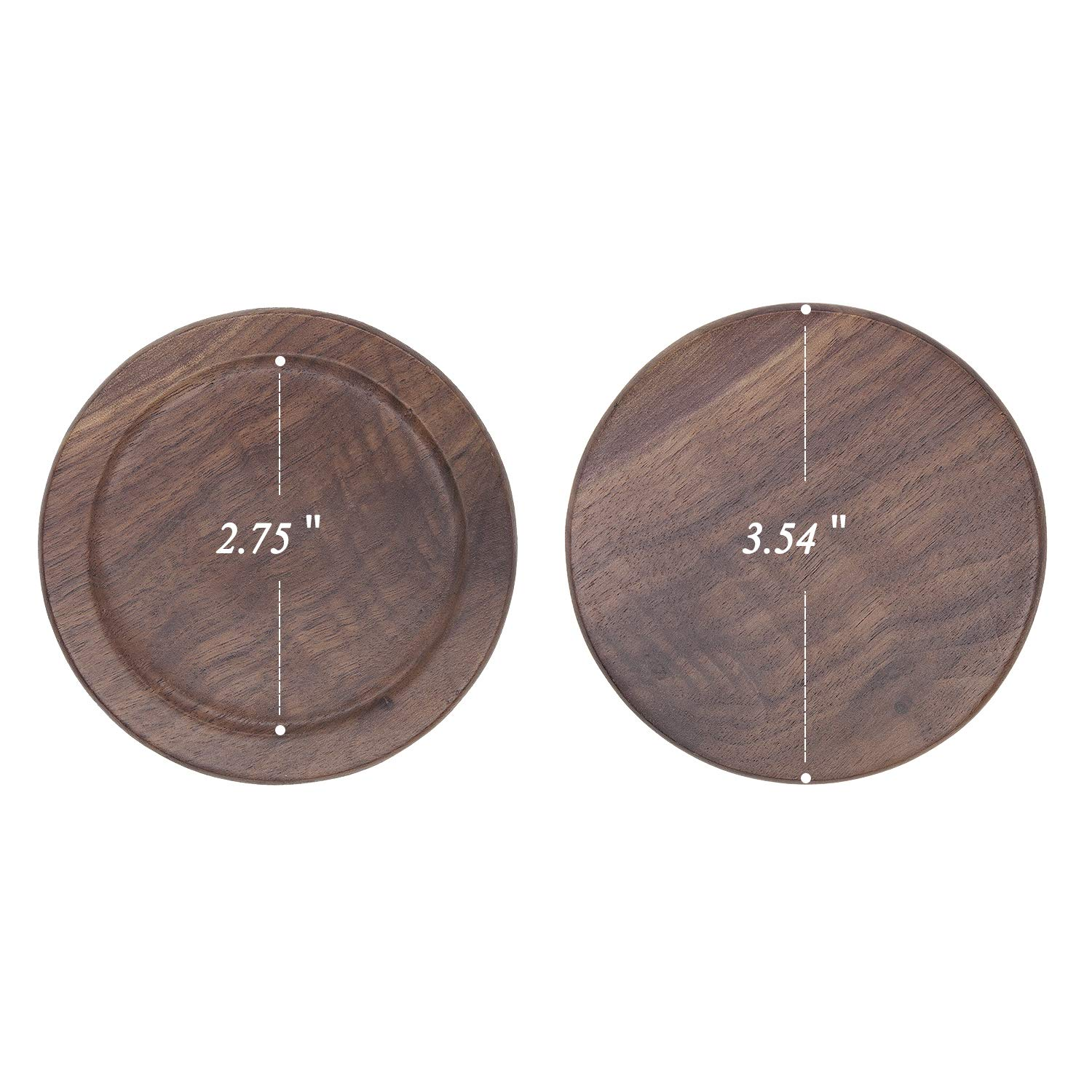 Black GOH DODD 8 Pieces Round Slate Stone Coasters 4 Inch Handmade Coasters for Bar and Home Drink Coasters with Holder
