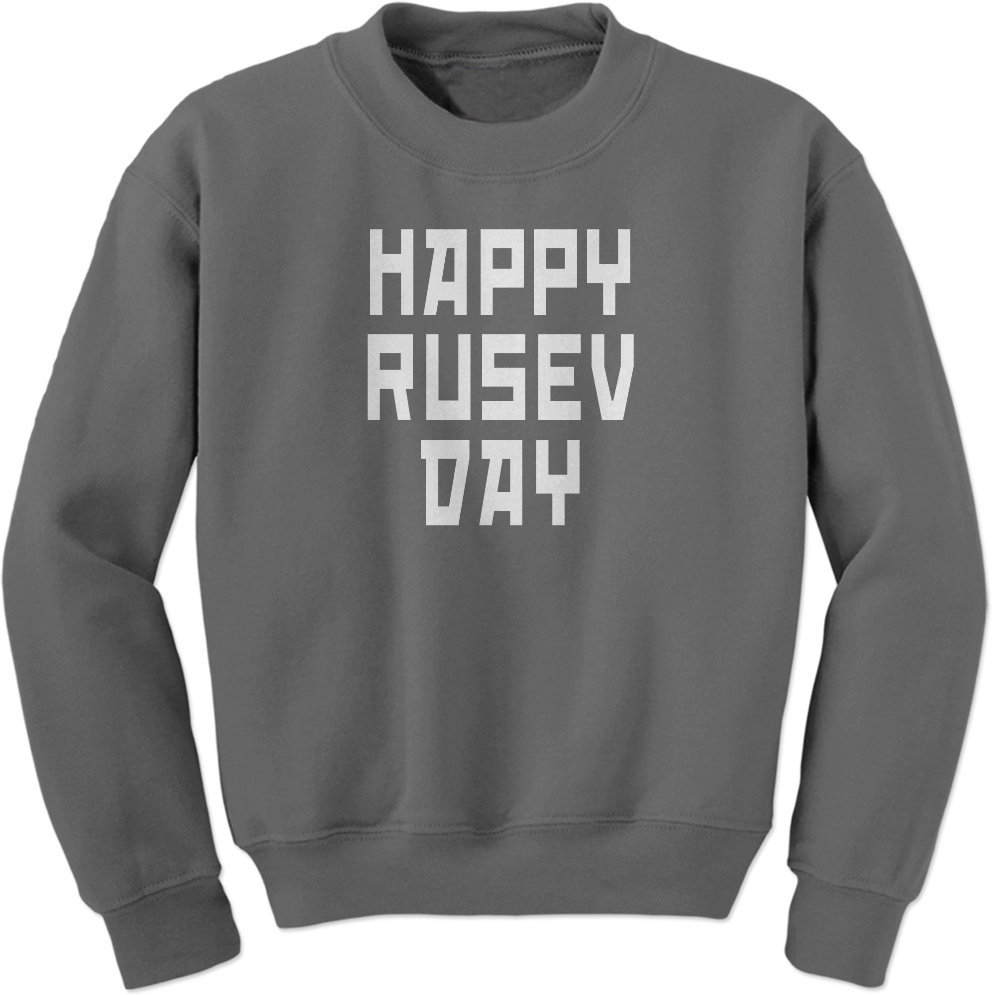 Expression Tees Crew Happy Rusev Day Adult Medium Charcoal Grey