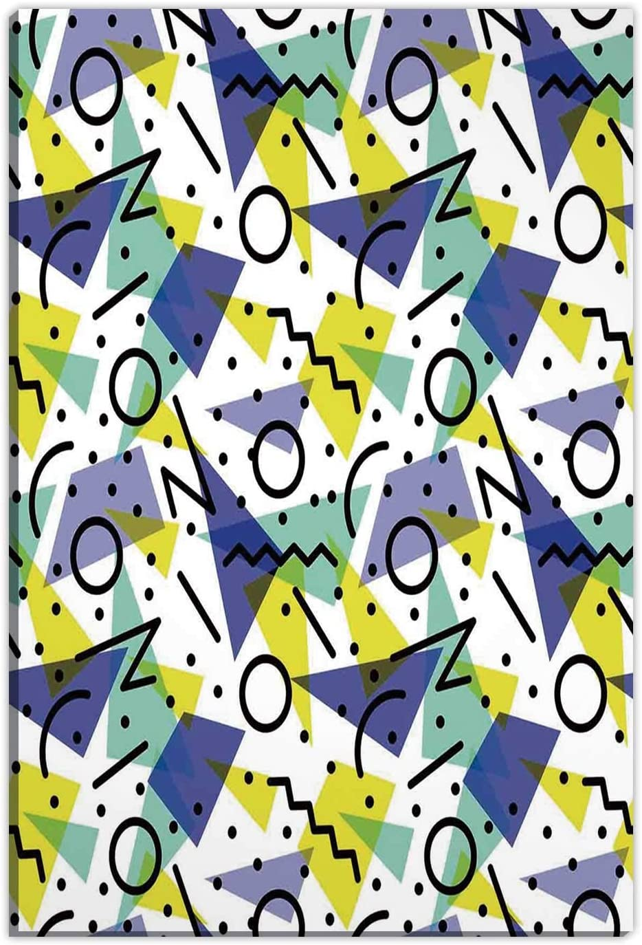 Hitecera Modern,Bedroom Wall Decor,Geometrical Retro 80s Themed OKJEFF 191486 with Lines Circles and Spots Print,Home Decorations for Living Room,12''x16''