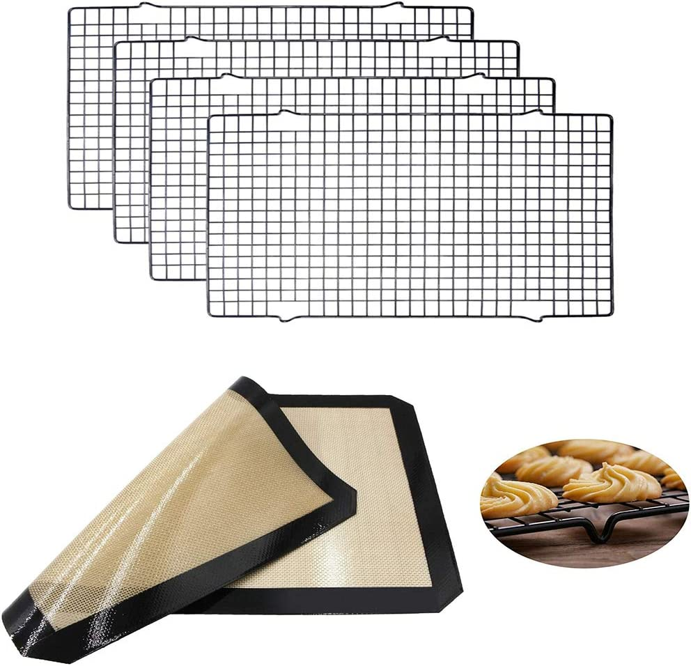 4 Pack Stainless Steel Cooling Rack Baking Rack - Silicone Baking Mat Sheet for Cookies, Cakes