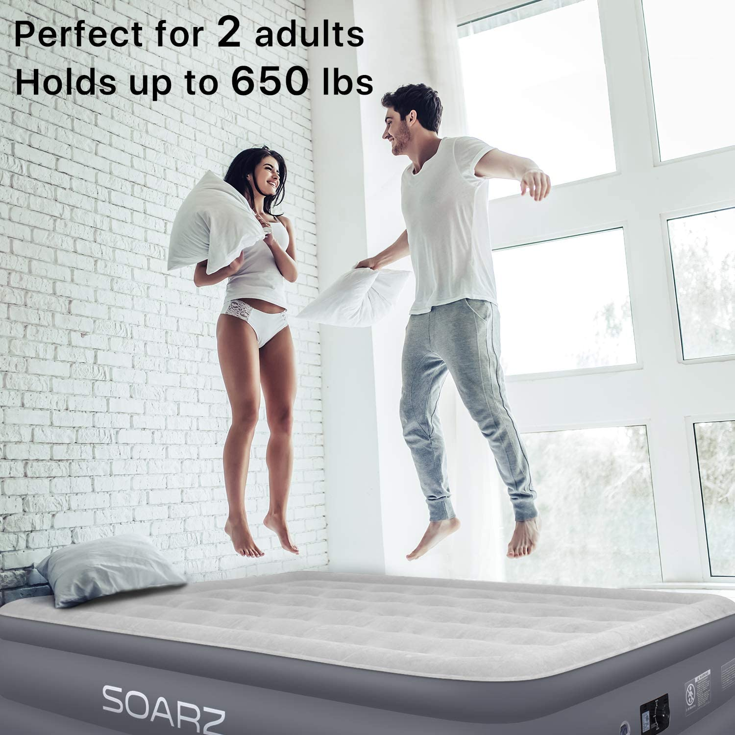 SOARZ Twin Air Mattress w// Built in Pump XL Inflatable Mattress 78x40x18 in