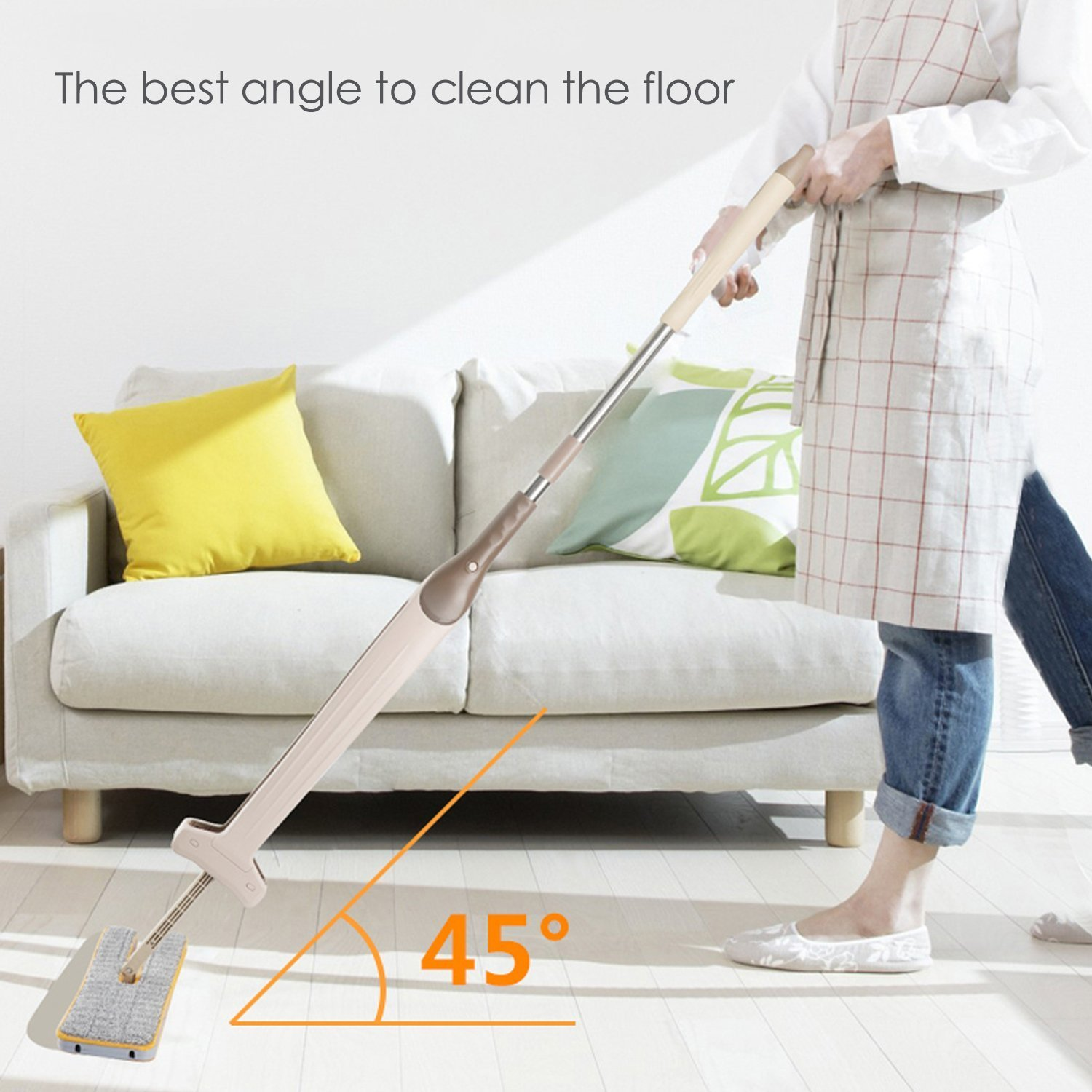 Hands-Free Double-sided Flat-panel Floor Cleaning Mop, Dry and Clean Wet Dual-use, Superfine Fiber, 360 Degree Rotation, No Dead Ends Clean, Convenient, For Indoor Floors, Glass, Windows and So On
