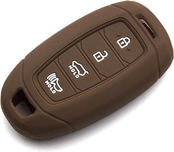 LIGHTKOREA 4 Button Flip Folding Fob Remote Key Chain Silicone Case Cover for Hyundai Santa Fe Sonata Elantra Azera Tucson Black