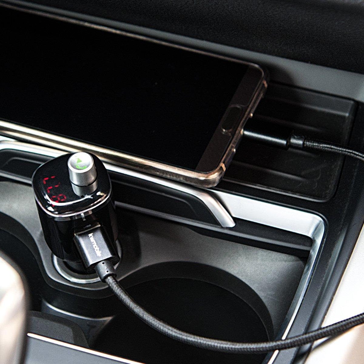 Indicador LED y micr/ófono para Manos Libres 2 Puertos de Carga USB para Smartphones kwmobile Transmisor de FM Bluetooth para Coche Radio