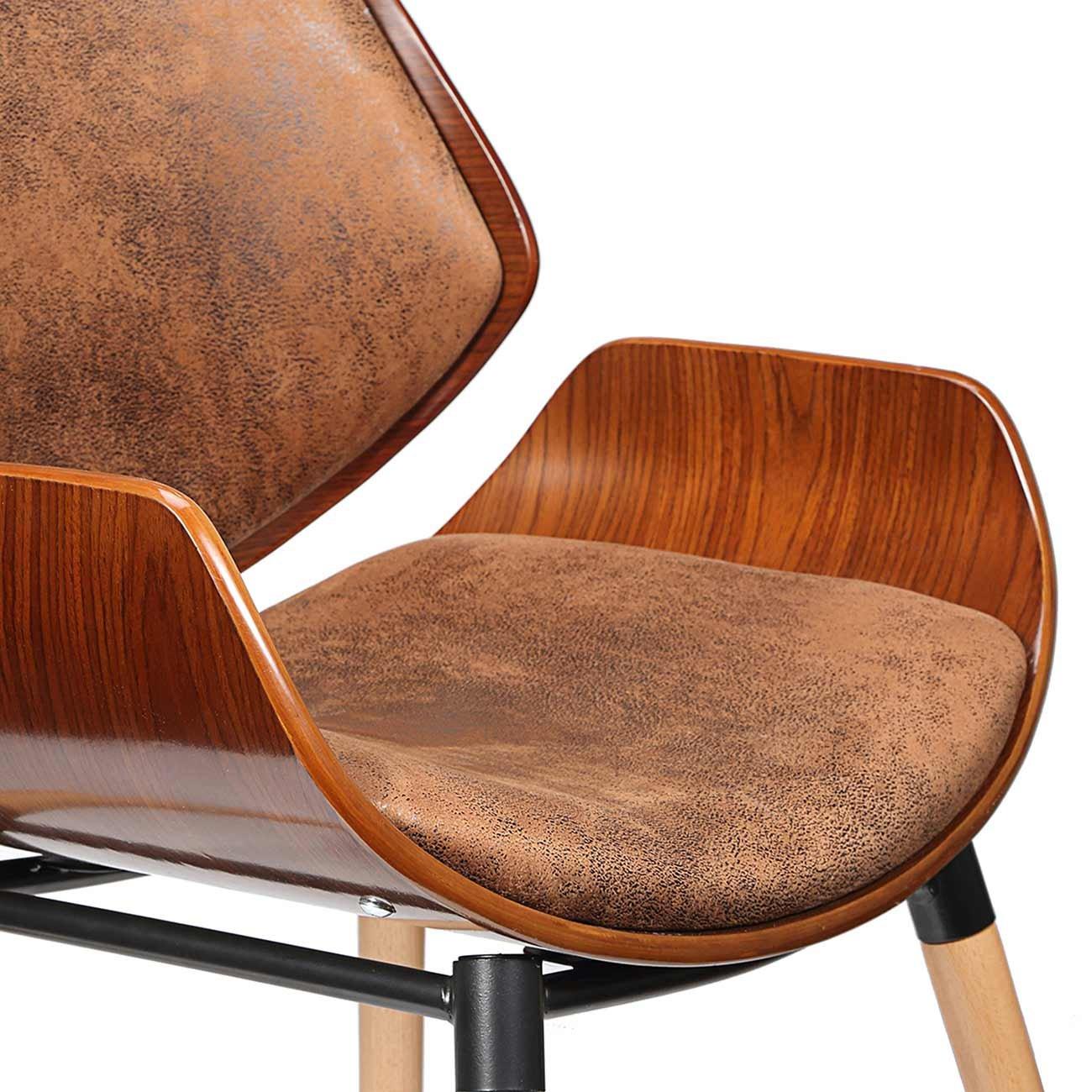 Makika Sedia Retro Vintage Design Sgabello Moderno Stile Imbottita Ecopelle Legno Massello Casa Ufficio Maxim in Marrone