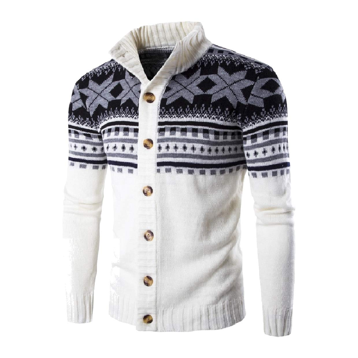 Abetteric Mens Christmas Knitted Button Down Classic Stand Collar Cardigan