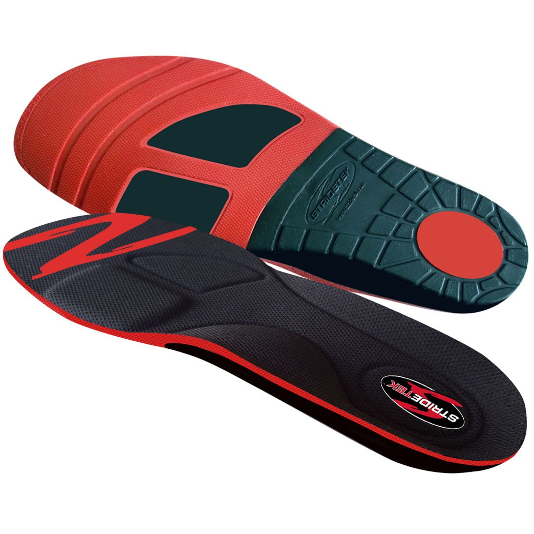 Stridetek Cross Trainer Orthotic Insoles - Arch Support Metatarsal Pad & Gel Plugs Prevent Foot Pain Plantar Fasciitis & Shin Splints - (Red) - Mens 12 / Womens 13