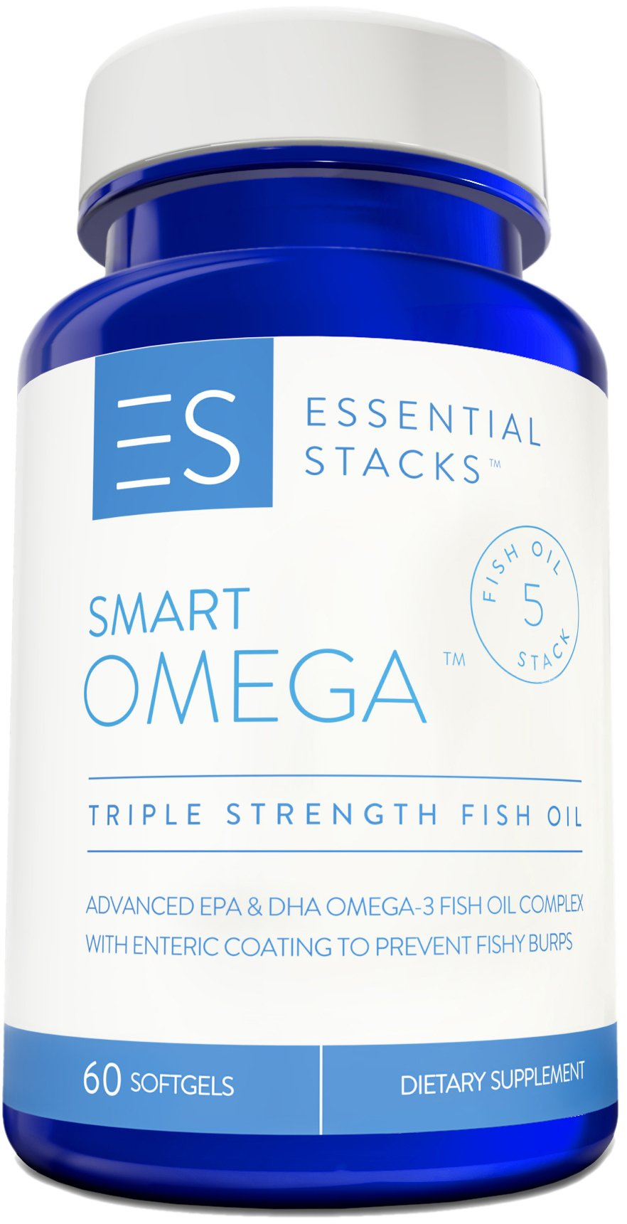 Burpless Fish Oil Omega 3 - Triple Strength (1400mg EPA DHA Per Serving), Enteric Coated, Molecularly Distilled & No Fishy Burps OR Aftertaste. by Essential Stacks