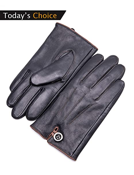 """76c175b7516a5 YISEVEN Men's Genuine Goat Skin Leather Winter Warm Lined Gloves /Touchscreen,Black,11"""""""