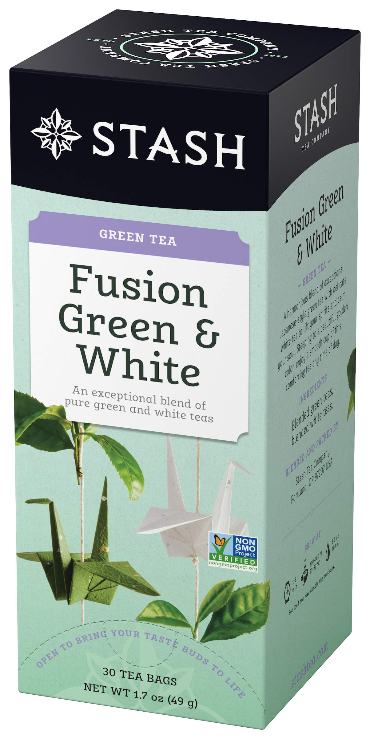 Stash Tea Fusion Green & White Tea 30 Count Tea Bags in Foil (Pack of 6) (Packaging May Vary) Individual Tea Bags for Use in Teapots Mugs or Cups, White Tea and Green Tea, Brew Hot or Iced