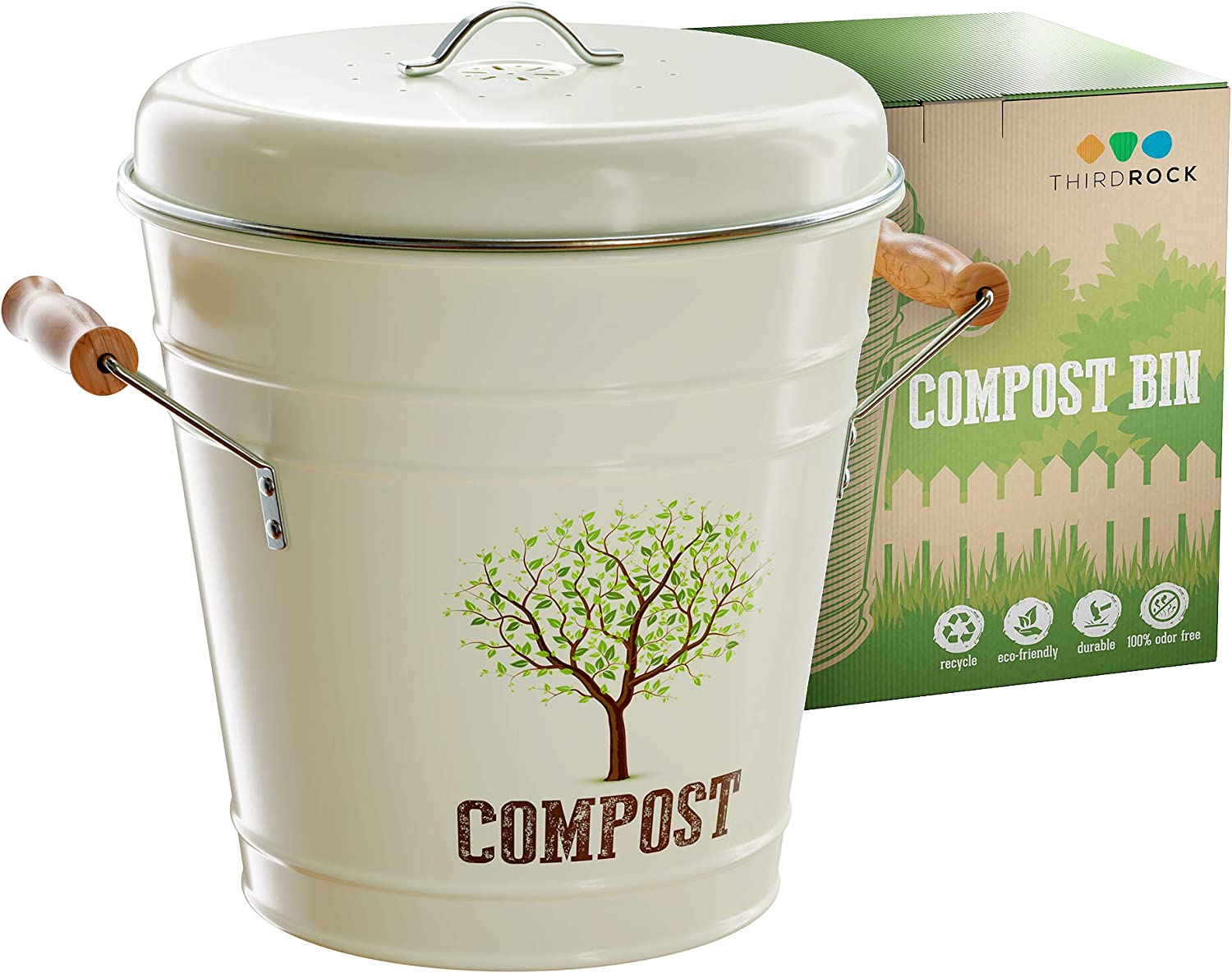 Third Rock Compost Bin for Kitchen Counter - 1.3 Gallon 5 Liter | Premium Dual Layer Powder Coated Carbon Steel Compost Bin Countertop Bucket | Includes Charcoal Filter & Removeable Inner Pail Liner