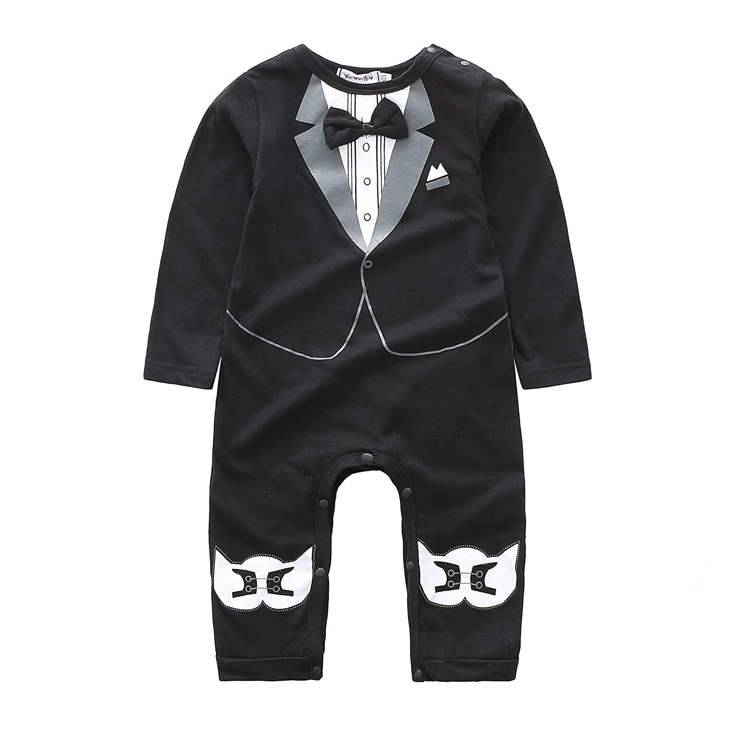 Infant Gentleman Panda Print Bowtie Onesie Romper with Footed Outfit Suit
