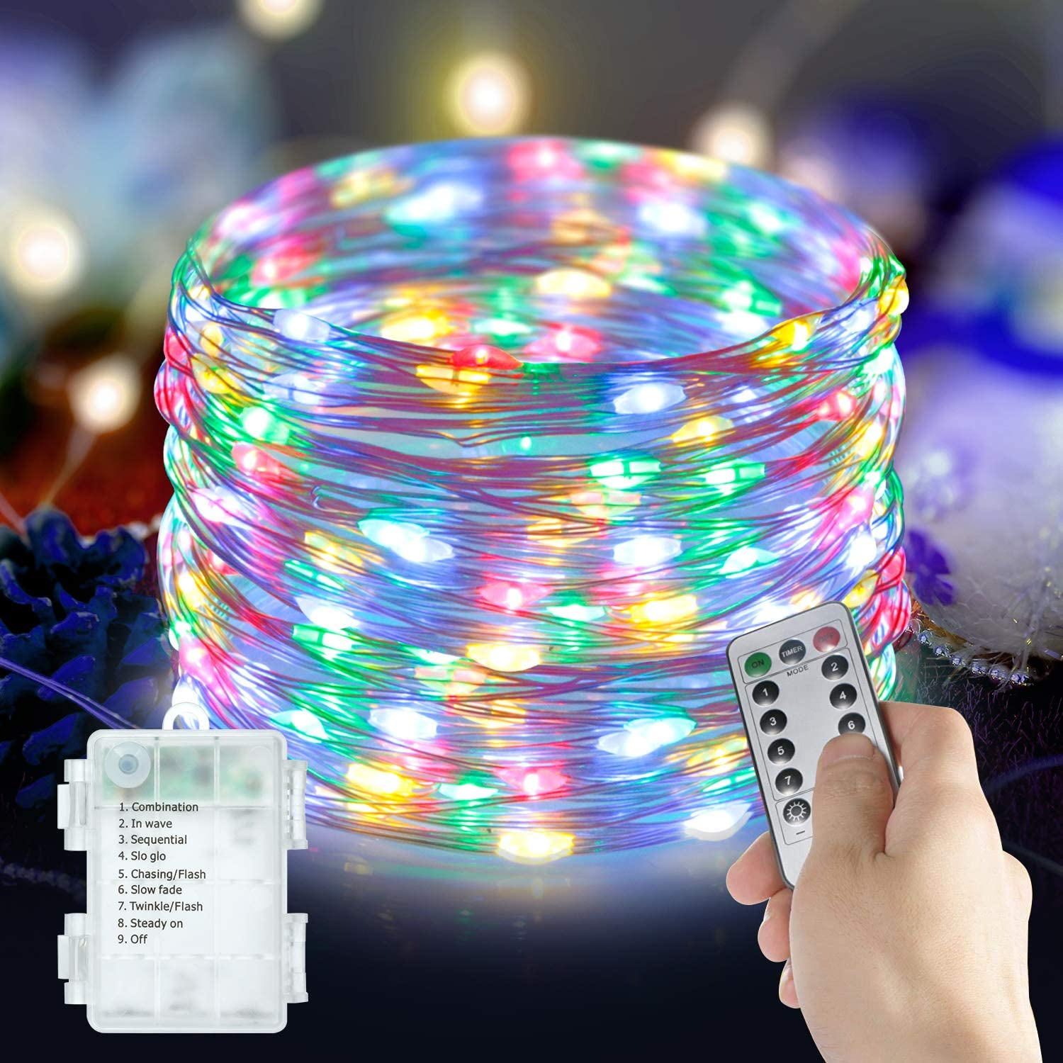 ANJAYLIA 2 Pack 100LED 33ft Fairy Lights Battery Operated, Waterproof Multi Color Twinkle String Lights with Remote Control Timer for Room Wedding Garden Party