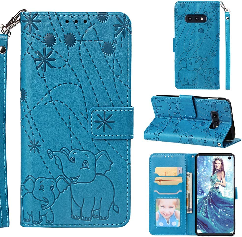 Galaxy S10e Case, Fashion Premium PU Leather Wallet Cover Embossed Pattern Credit Card Holders Flip Magnetic Clasp Wrist Strap TPU Inner Cover for Samsung Galaxy S10e - Blue