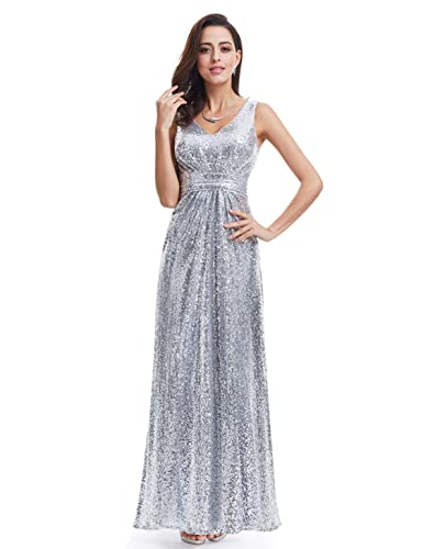 Ever Pretty Double V-Neck Elegant Sequin Prom Gown Silver Sparkle Maxi Long Cocktail Party Dress for...