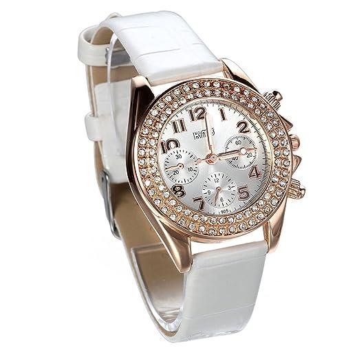 Jewelrywe Relojes Blancos de Diamantes de Imitación Brillantes 3 Ojos decorativos Reloj de Pulsera de Cuero Fino de Mujer, Pequeño Elegante Regalo para ...