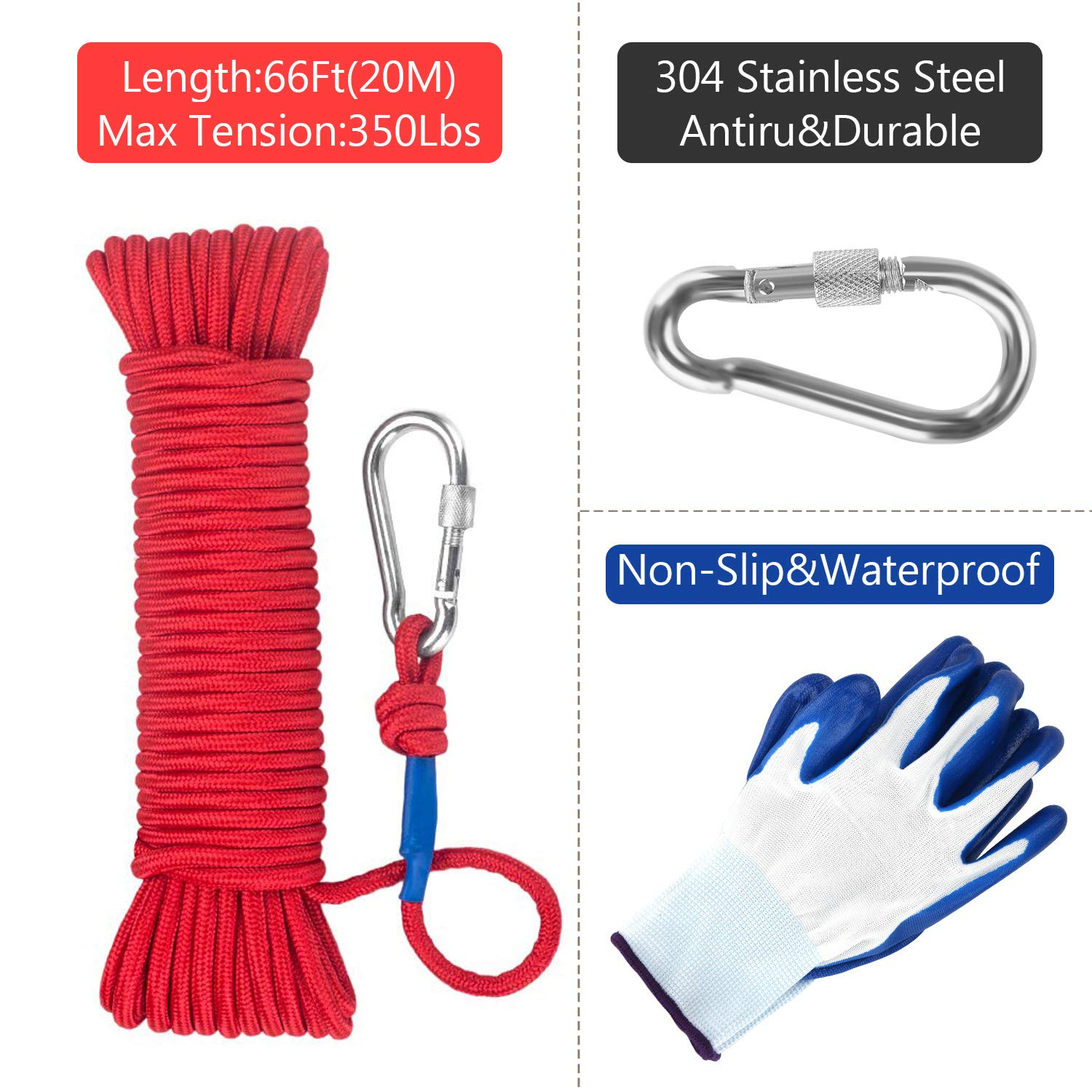 Fishing Magnet with 66ft Rope & Glove, Wukong 760LB Pulling Force Super Strong Neodymium Magnet with Heavy Duty Rope & Carabiner for Magnet Fishing and Retrieving in River - 67mm Diameter by Wukong (Image #7)