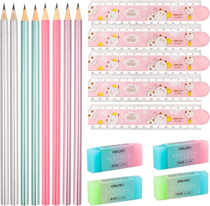 6 Novelty Student Eraser Rubber School Office Stationery Kids Gift bag party