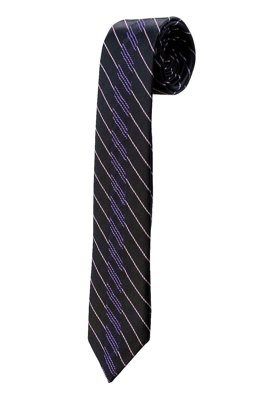 Oh La Belle Cravate Corbata Fine negra de rayas violetas y ...