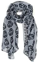 Soft Scarf with Skulls in Grey & Black