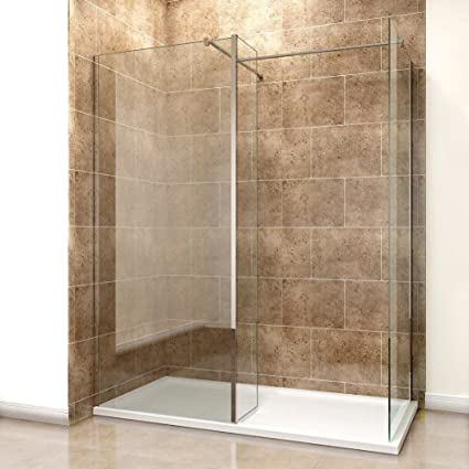 Home & Garden Store 6mm Tougheded Safety Wet Room with 1400x800mm Tray,Flipper and Side Panel Included Elegant 800mm Walk in Shower Screen