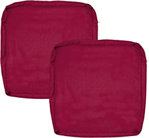 FLYMEI Outdoor Seat Cushion Cover Set, Large Patio Chair Seat Covers Only, Waterproof Patio Cushion Cover (20'' X 18'' X 4'' 2Pack, Burgundy)