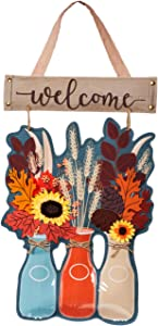 Evergreen Flag Beautiful Autumn Milk Bottles Hanging Door Décor - 14 x 1 x 22 Inches Fade and Weather Resistant Outdoor Decoration for Homes, Yards and Gardens