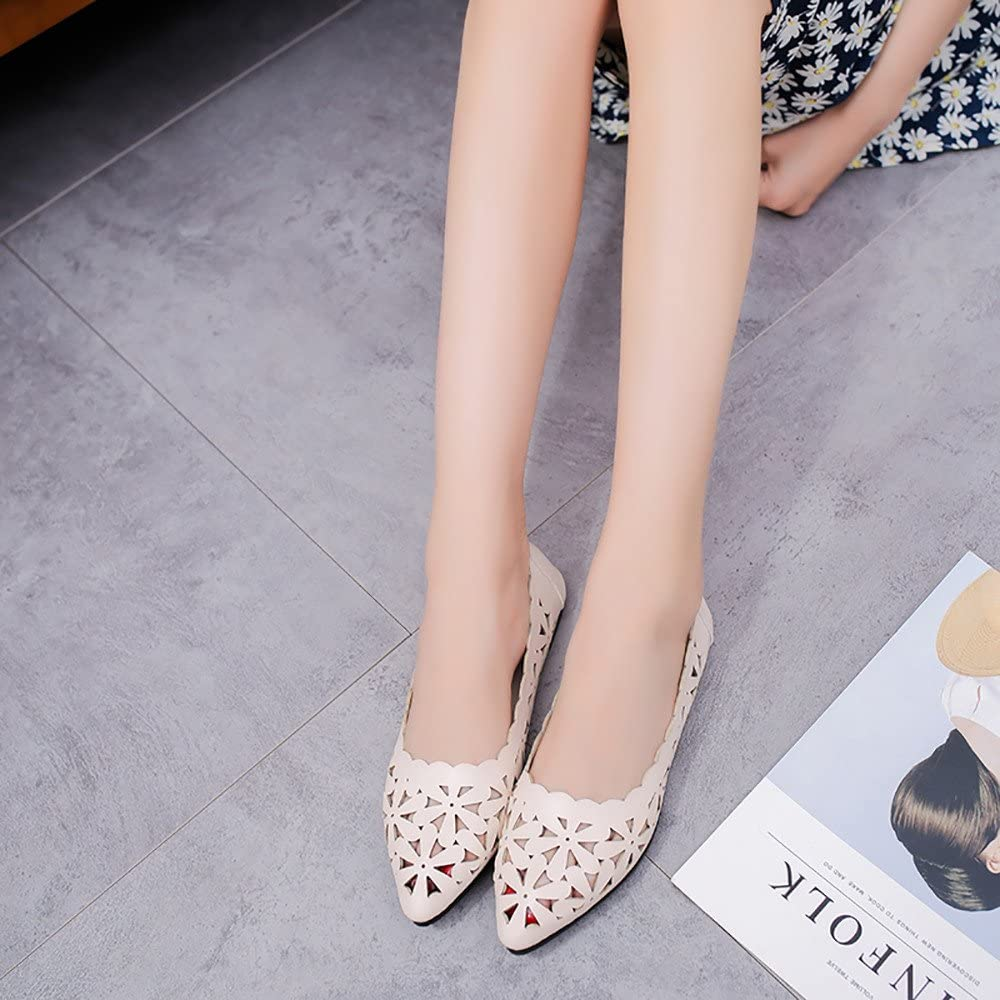 Womens Flats Shoes Ulanda-EU Ladies Elegant Hollow Out Pumps Boats Shoes Pointed Toe Spring Loafers Espadrills Summer Autumn Nurse Shoes for Women Teen Girls