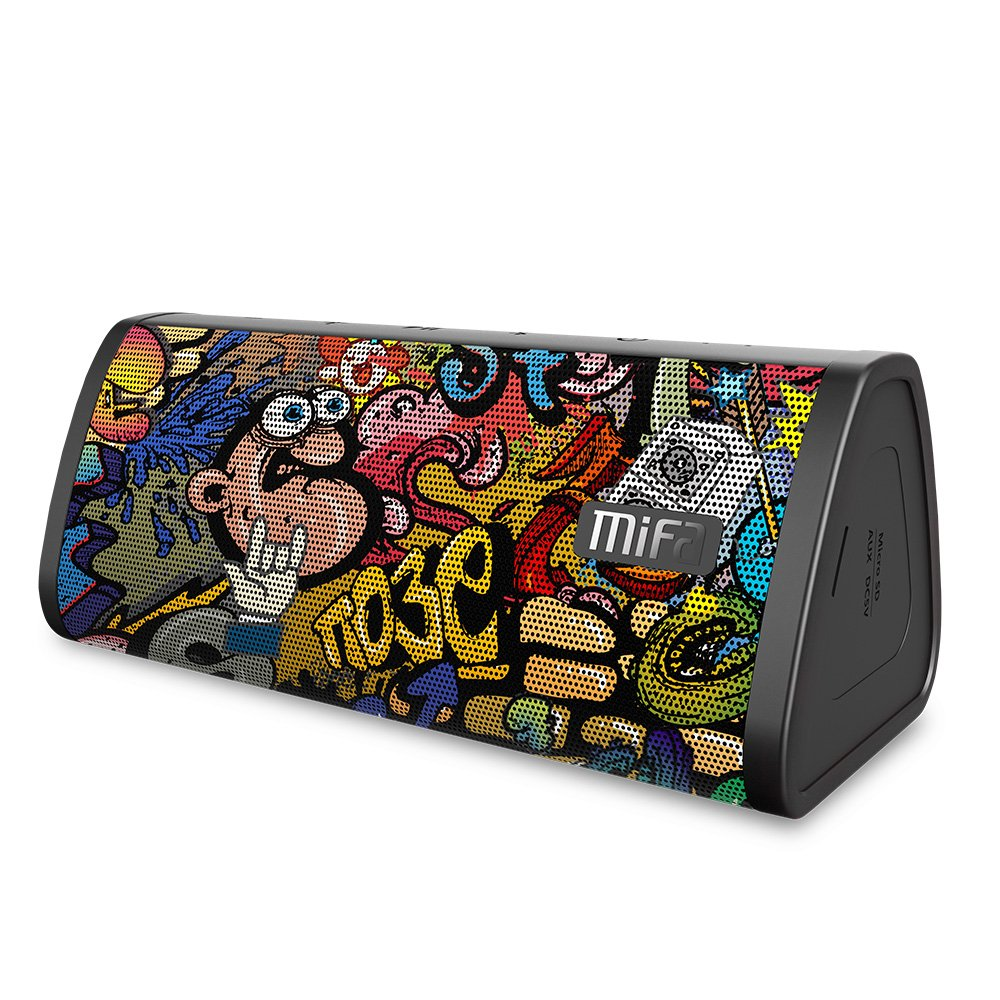Bluetooth Speakers, MIFA A10 Portable Soundbox True Wireless Stereo for Party, 16 Hours Playtime, 10W Loud Sound Rich Bass, IP45 Waterproof, Built-in Mic for Handsfree Call, TF Card Slot, Graffiti by MIFA