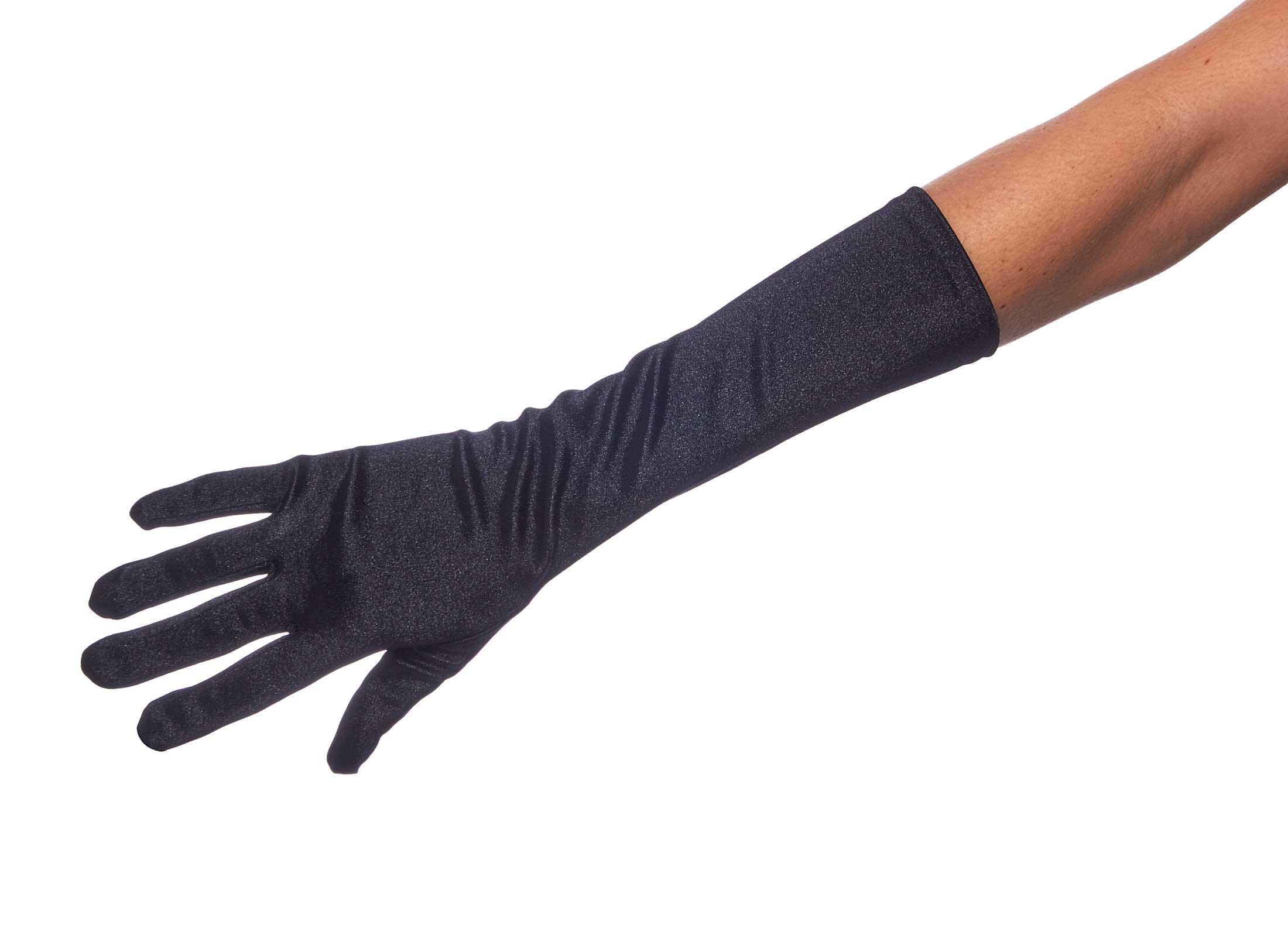 Elegant Elbow Length 15'' Satin Gloves (Black)